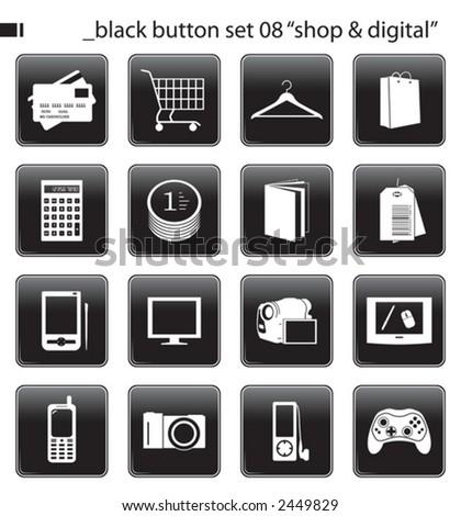 "black button set 06 ""shop & digital"" - stock vector"