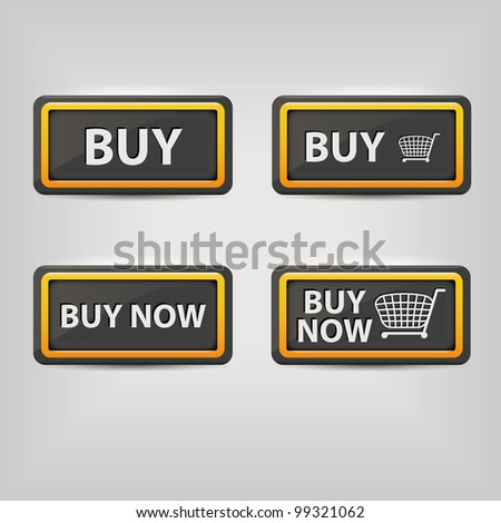 black buy buttons - stock vector