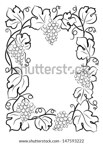 black calligraphy frame wine label vine grapes - stock vector