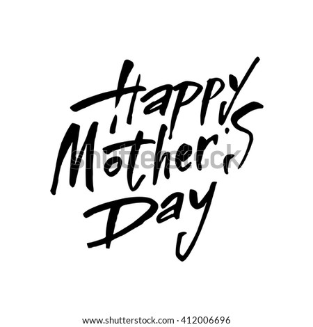 Black Calligraphy Inscription. Vintage Happy Mothers's Day Typographical Background. Mothers day hand lettering handmade calligraphy. - stock vector