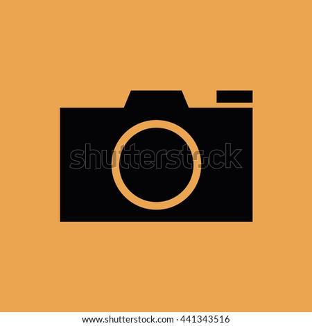 Black camera icon vector - stock vector