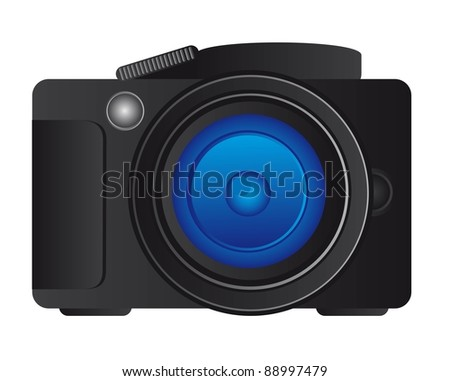 black camera professional over white background. vector