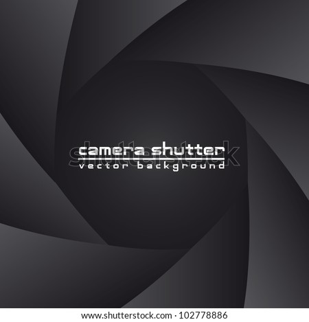 black camera shutter with space for copy, background. vector - stock vector