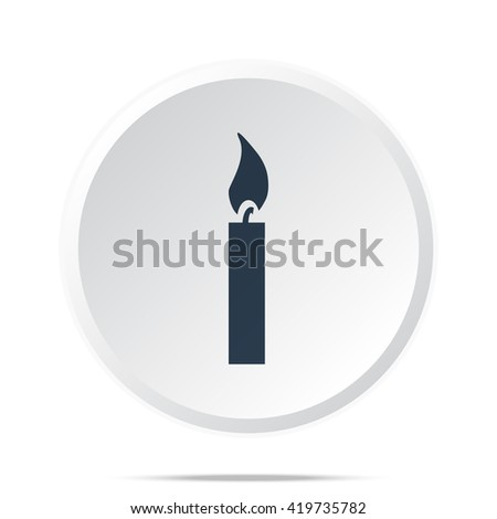 Black Candle Light icon on white web button