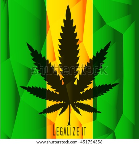 "Black Cannabis leaf with text ""Legalize It"" on polygonal green and yellow background. Vector illustration"