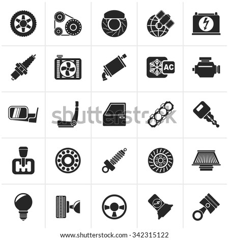 Black Car parts and services icons - vector icon set  - stock vector