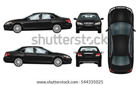 Black Car Vector Template Business Sedan Lager Vektor 544335025