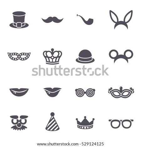 Black Carnival Icons Isolated On White Stock Vector Hd Royalty Free