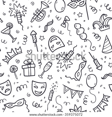 Black carnival symbols in doodle style on white background, vector seamless pattern - stock vector