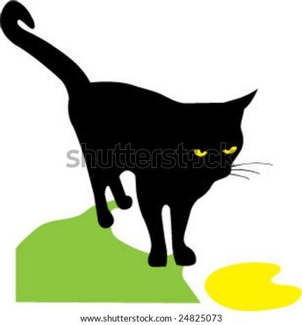 black cat - stock vector