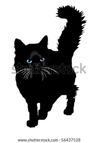 Black cat a silhouette with colour eyes on a white background vector eps10 - stock vector