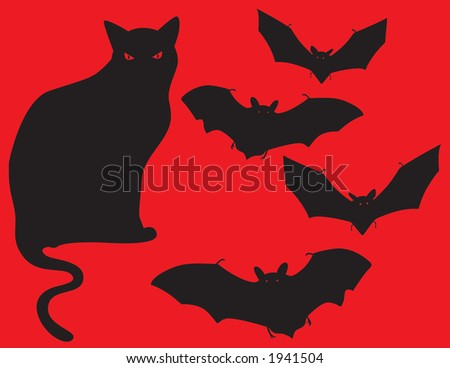 Black cat and bats vector image perfect for adding into a halloween themed design. - stock vector