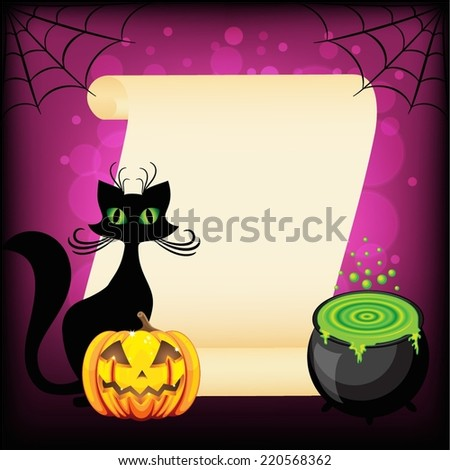 Black cat and Halloween pumpkin against empty wish scroll - stock vector