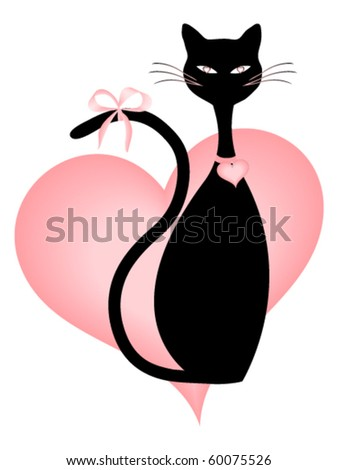 Black Cat and Pink Hearts - stock vector