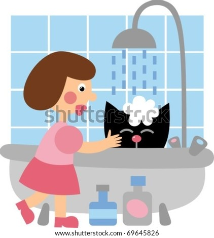 Black Cat bathing - stock vector