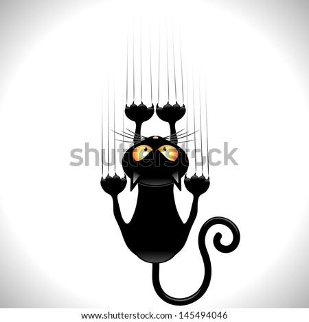 Black Cat Cartoon Scratching Wall - stock vector