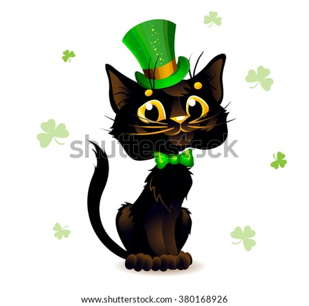 Black Cat in the Leprechaun hat. Poster St. Patrick's Day.
