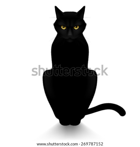 Black cat isolated on a white background - stock vector