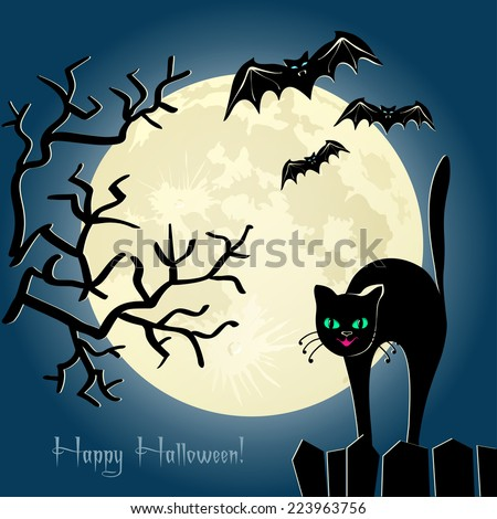 Black cat on a fence, tree and some bats in front of the moon. Vector card - stock vector