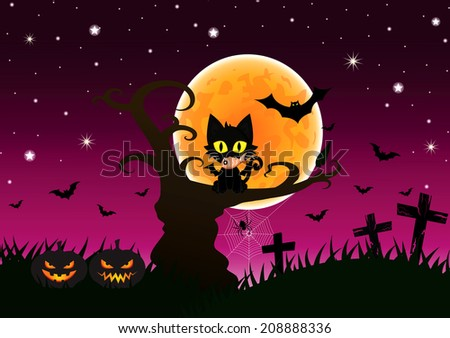 Black Cat on the Tree at full Moon during Halloween's Night.EPS 10 vector - stock vector