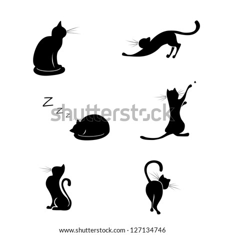 Black cat silhouette collections - stock vector