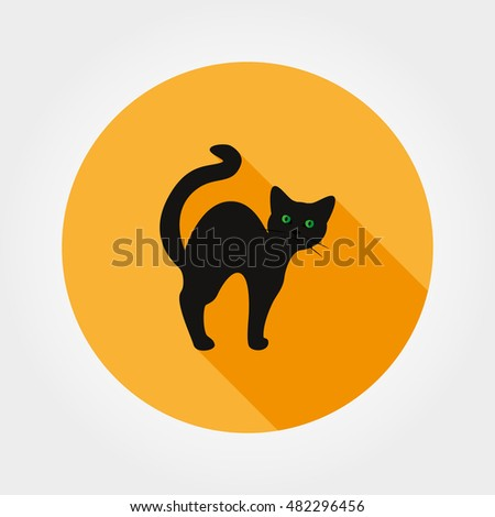 black cat silhouette halloween icon for web and mobile application vector illustration on - Black Cat Silhouette Halloween