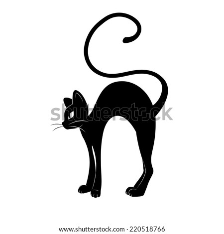 Black cat silhouette. Hand drawing illustration isolated on white background. - stock vector