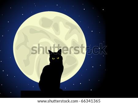 Black cat under the Moon - stock vector
