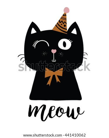 black cat vector/T-shirt Print/funny animal mascot/birthday surprise party/cartoon cat print /animal print