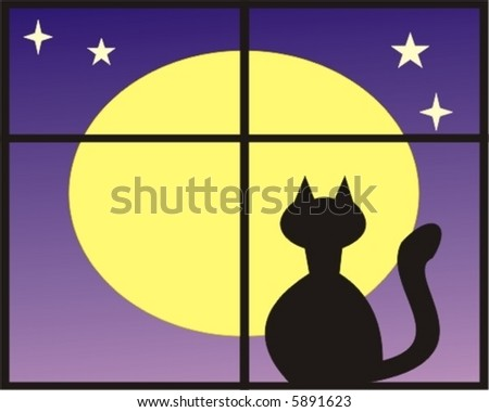 Black cat watching at the moon - stock vector