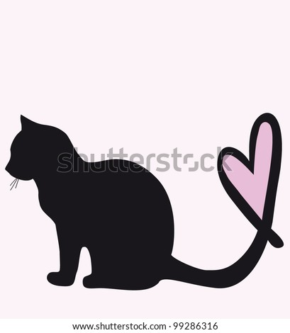 black cat with a tail / heart - stock vector