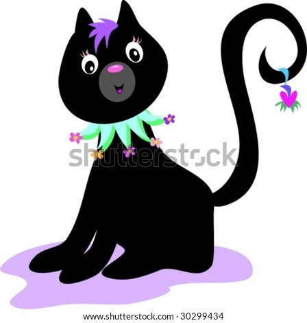 Black Cat with Flower Collar Vector