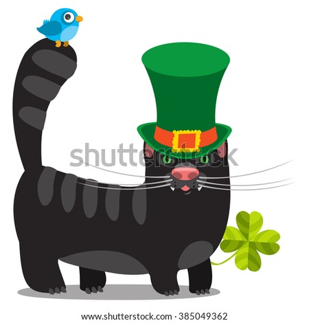stock-vector-black-cat-with-green-hat-co