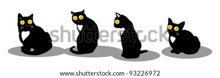 Black cats - stock vector