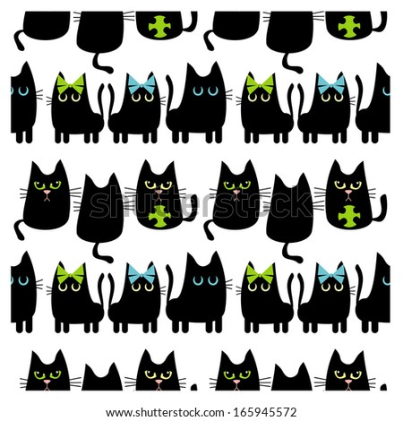 Black cats background - stock vector