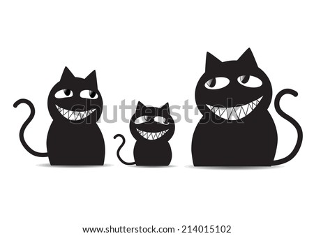 Black cats family - stock vector