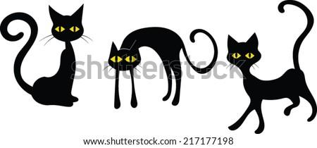 Black Cats Halloween Vector Image Stock Vector 217177198 ...