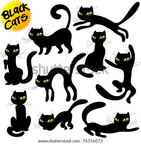 black cats vector - stock vector