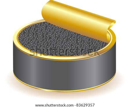 black caviar vector illustration isolated on white background - stock vector