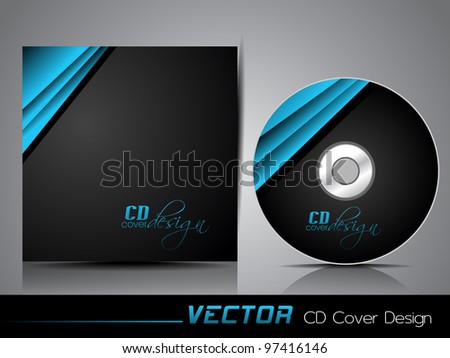 Black CD cover with folded blue ribbon , eps 10 abstract illustration. - stock vector