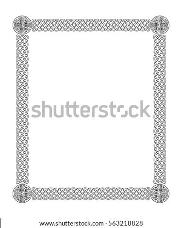 black celtic border frame on white stock vector hd royalty free rh shutterstock com celtic knot border vector celtic circle border vector