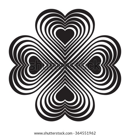 Black Celtic heart knot - stylized symbol. Made of hearts. Four-leaf clover. Isolated design element. White background. Vector illustration. - stock vector
