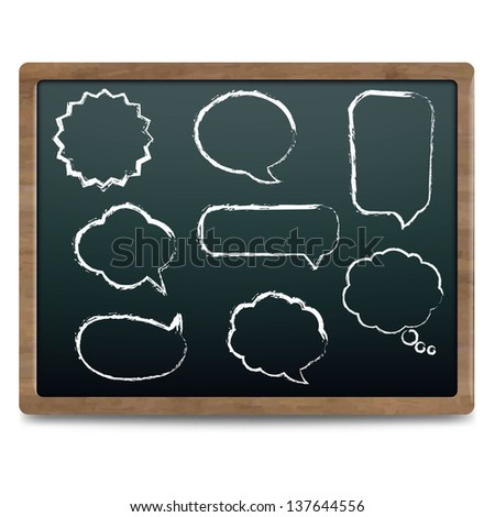 Black Chalk Board With Speech Bubble Set, Vector Illustration - stock vector