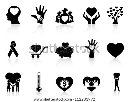 black charity and donation icons - stock vector