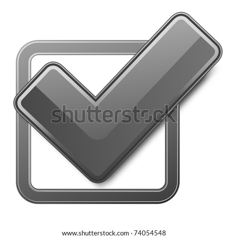Black check box with check mark. Vector illustration. - stock vector