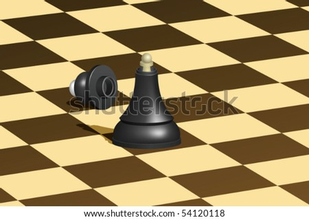 Black chess queen with white pawn inside. Mesh is used