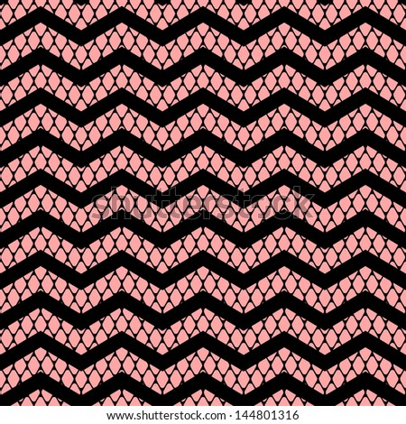 Black chevron on pink lace mesh seamless pattern, vector - stock vector