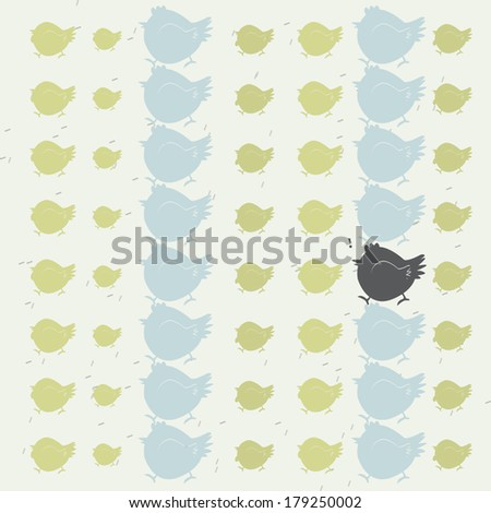 black chicken different from other, teamwork conceptual  - stock vector
