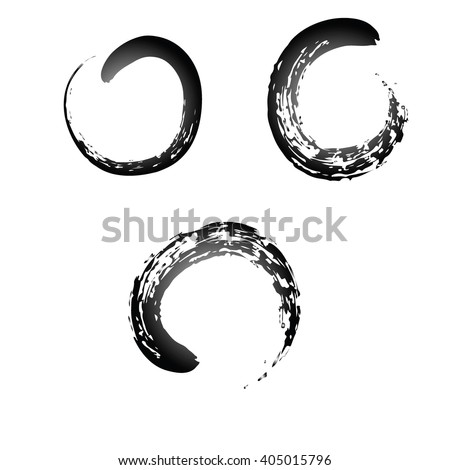 Black Chinese brush draw the symbol of Zen (Chinese and Japanese Buddhism religion concept) 3 symbols set isolated on white background