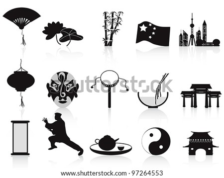 black chinese icons set